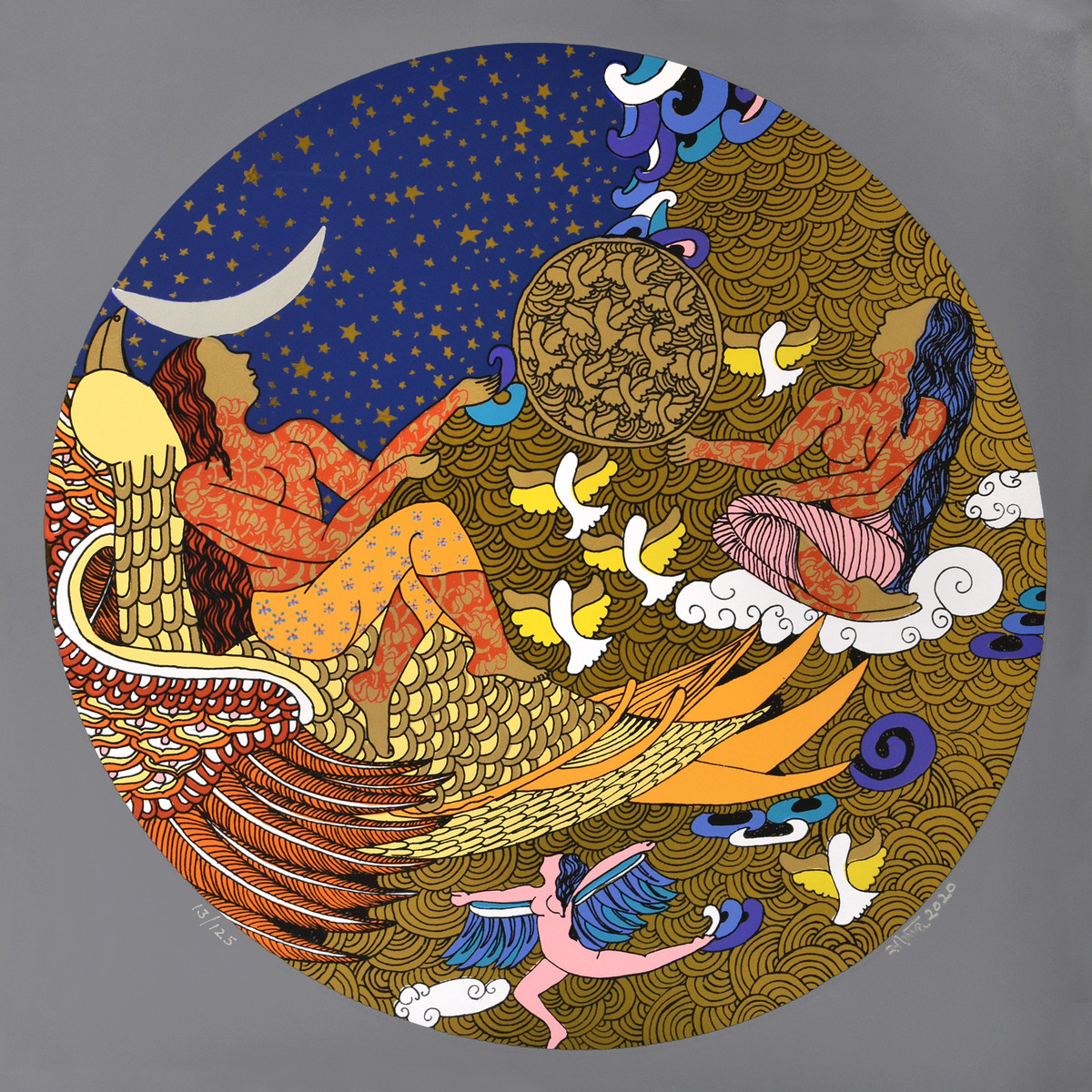 The Golden Womb - 3 by Seema Kohli, Expressionism Serigraph, Serigraph on Metallic film pasted on paper, Brown color