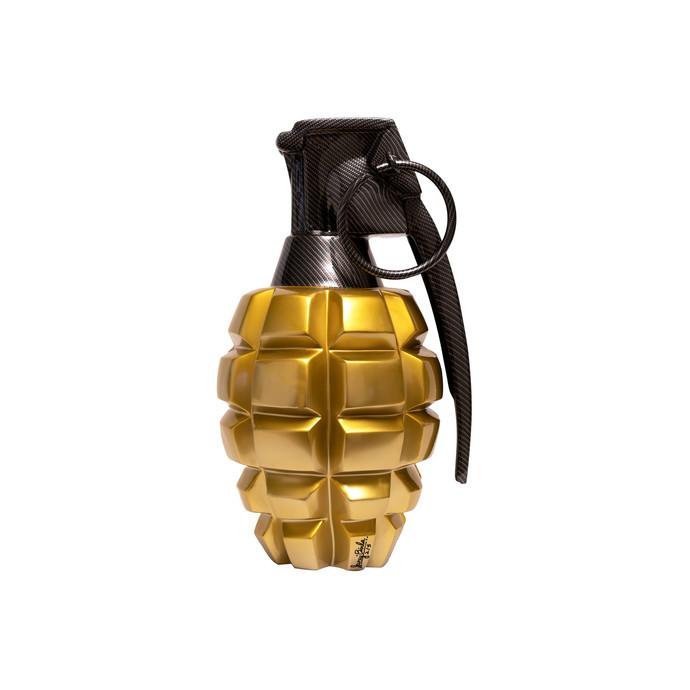 Pop Grenade gold/black by Sanuj Birla, Pop Art Sculpture   3D, Fiber Glass, White color