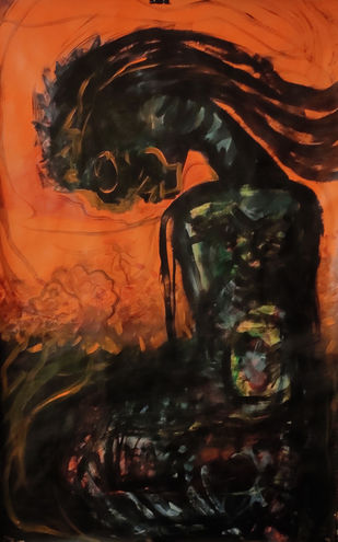 Sullen by Gautam Das, Expressionism Painting, Acrylic on Paper, Brown color