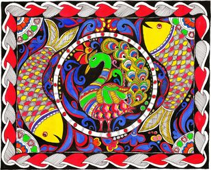 Madhubani - Peacock and whirling Fish Digital Print by Jyoti Mallick,Folk