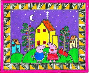 Madhubani - Peppa pig and George Digital Print by Jyoti Mallick,Folk