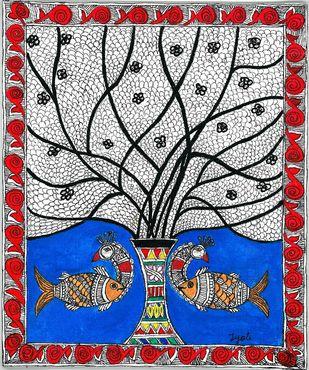 Madhubani - Peacock-Fish fusion Digital Print by Jyoti Mallick,Folk
