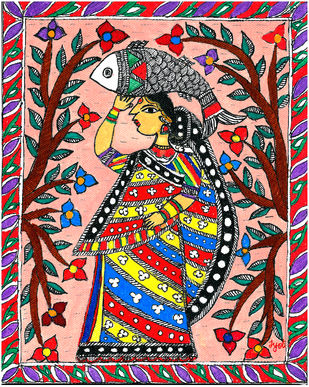 Madhubani - Woman with Fish Digital Print by Jyoti Mallick,Folk