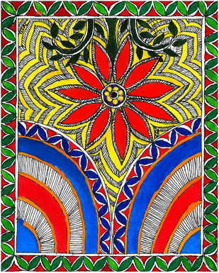 Madhubani - Shanti Mandala Digital Print by Jyoti Mallick,Folk