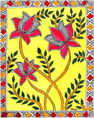 Madhubani - Lotus blossoms Digital Print by Jyoti Mallick,Folk