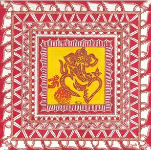 Madhubani - Ganesha Digital Print by Jyoti Mallick,Folk