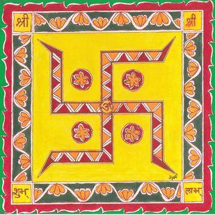 Madhubani - Swastik Digital Print by Jyoti Mallick,Folk