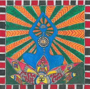 Madhubani - Meditation Digital Print by Jyoti Mallick,Folk
