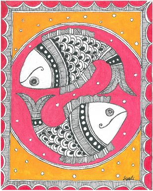 Madhubani - Fish couple Digital Print by Jyoti Mallick,Folk