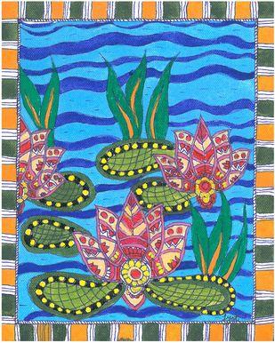 Madhubani - Lotus in the pond Digital Print by Jyoti Mallick,Folk