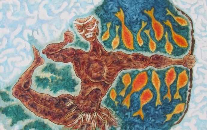 HUNTING IN THE SEA Digital Print by Shivayogi Mogali,Expressionism