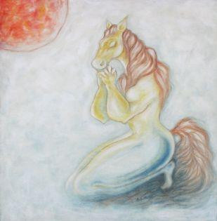 PRAYER by Shivayogi Mogali, Fantasy Painting, Oil on Canvas, Gray color