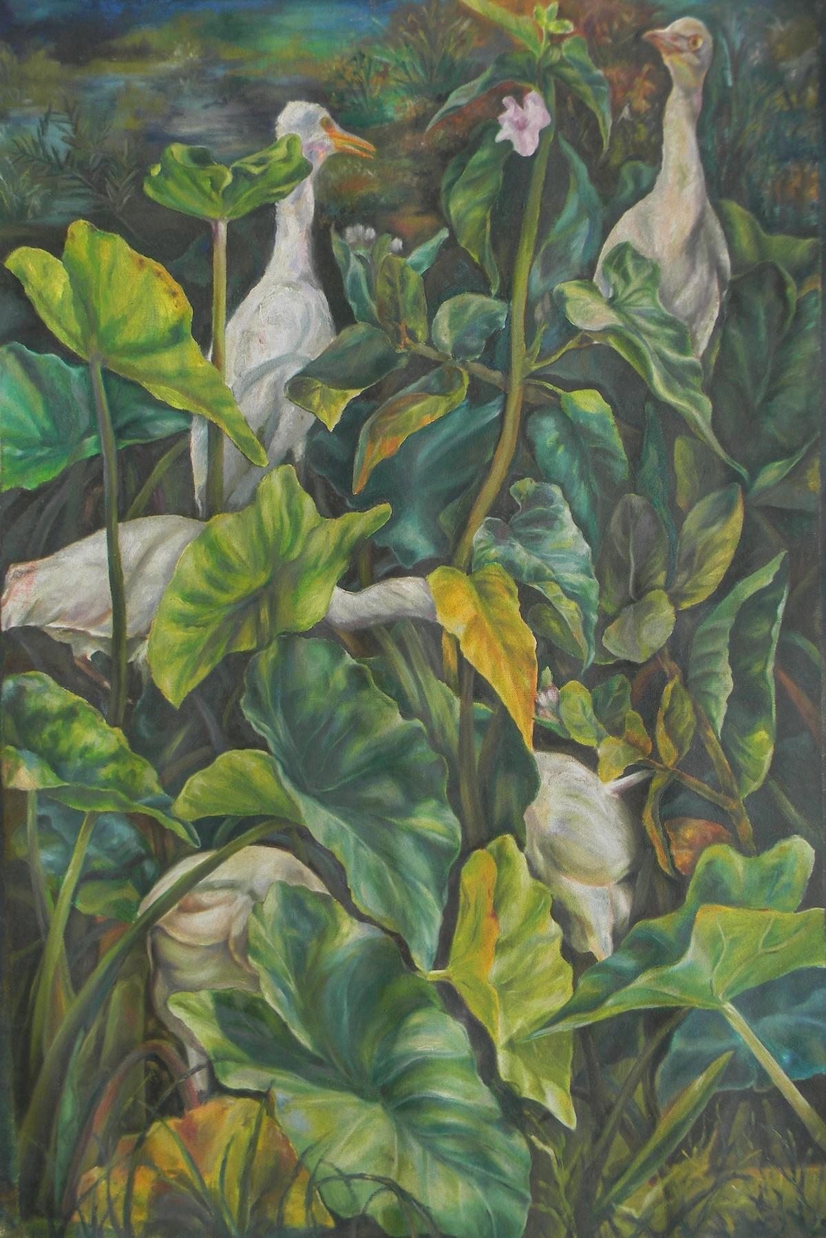 landscape by Raka Panda, Fantasy Painting, Oil on Canvas, Green color