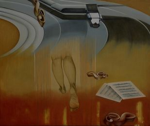 Deep recall by anju kaushik, Conceptual Painting, Oil & Acrylic on Canvas, Brown color