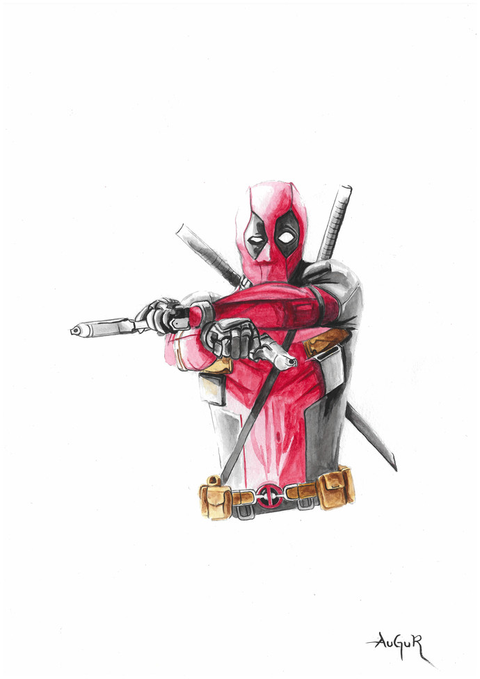 Dead pool by Augur, Pop Art Painting, Watercolor on Paper, White color