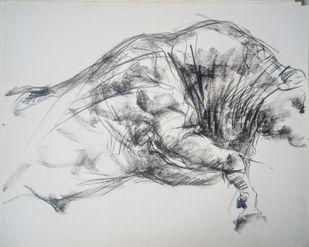 Brawny Bull 4 by Saumya Bandyopadhyay, Illustration Painting, Pastel on Paper, Gray color