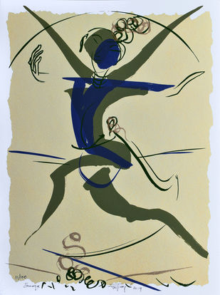 Somaya by Jatin Das, Expressionism Printmaking, Serigraph on Paper, Beige color