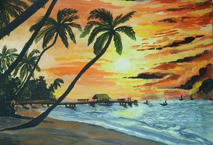 Beautiful Sunny Beach by Pritam Shaw, Impressionism Painting, Acrylic on Paper, Green color