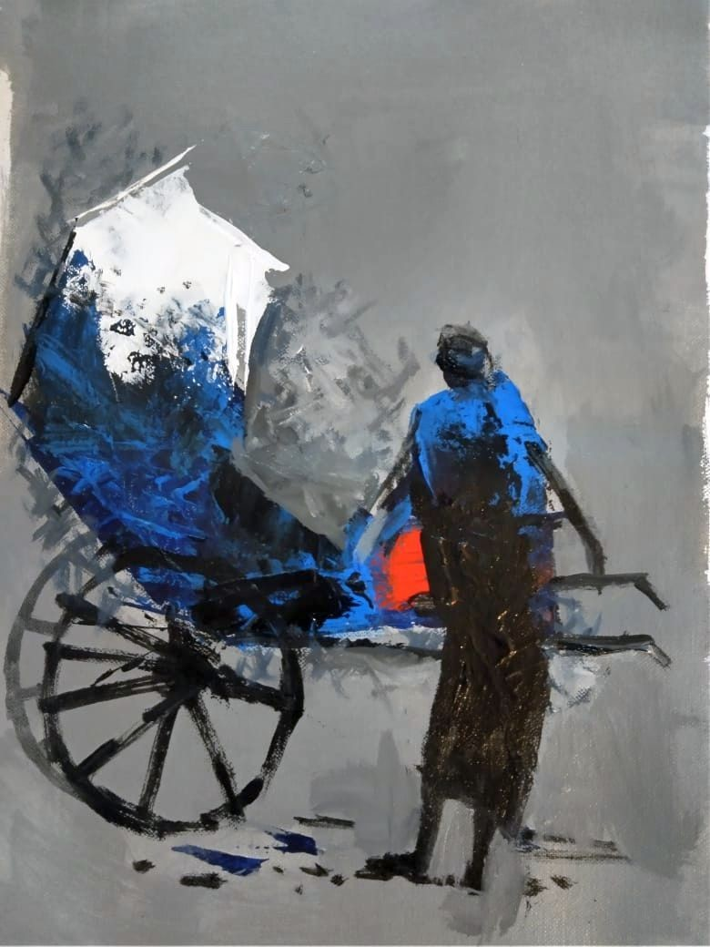 The Rickshaw Puller - 2 by Dilip Chaudhury, Impressionism Painting, Mixed Media on Canvas, Gray color