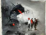 Street Scene, Kolkata by Dilip Chaudhury, Impressionism Painting, Mixed Media on Canvas, Gray color