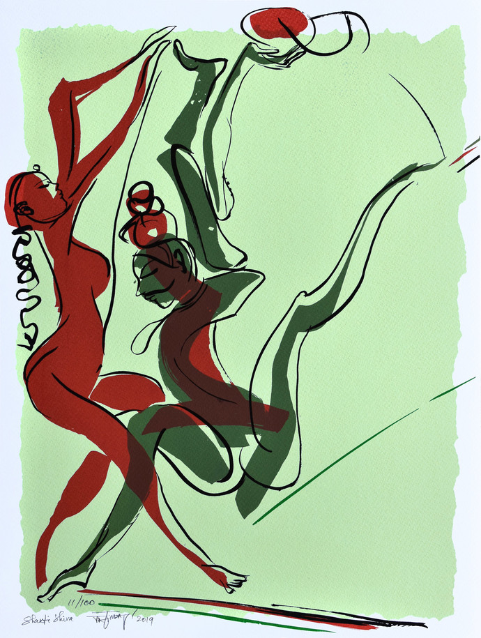 Shakti Shiva by Jatin Das, Expressionism Printmaking, Serigraph on Paper, Cyan color