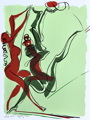 Shakti Shiva by Jatin Das, Expressionism Printmaking, Serigraph on Paper, Cyan color