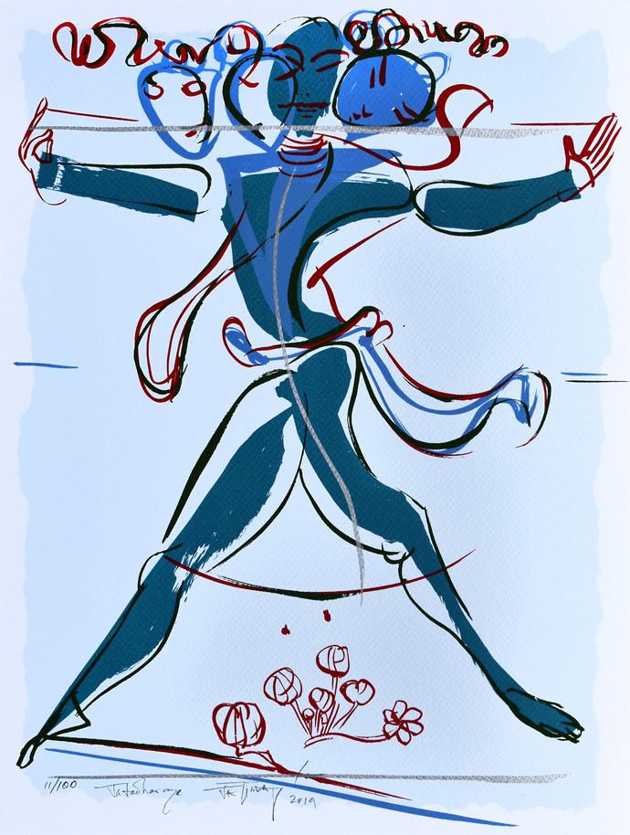 Jatadharaya by Jatin Das, Expressionism Printmaking, Serigraph on Paper, Cyan color