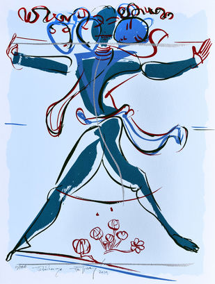 Jatadharaya by Jatin Das, Expressionism Printmaking, Serigraph on Paper, Cyan color