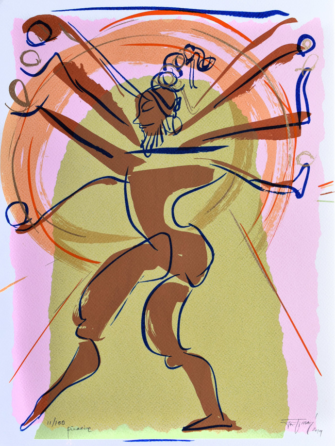 Pinakine by Jatin Das, Expressionism Printmaking, Serigraph on Paper, Beige color