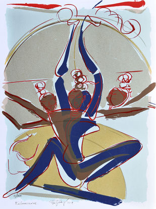 Kailasa vasine by Jatin Das, Expressionism Printmaking, Serigraph on Paper, Gray color