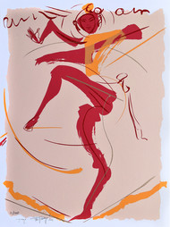 Ugaraya by Jatin Das, Expressionism Printmaking, Serigraph on Paper, Pink color