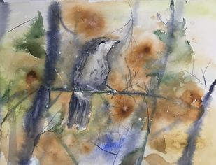 Morning melancholy by Nahid Aamina Sowkath, Impressionism Painting, Watercolor on Paper, Beige color
