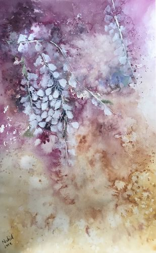 Wisteria magic by Nahid Aamina Sowkath, Impressionism Painting, Watercolor on Paper, Beige color