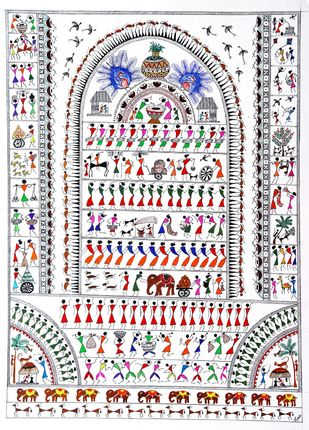 ANCIENT WARLI ARTS ECCENTRICALLY ON HANDMADE PAPER by HARPREET KAUR PUNN, Folk Painting, Acrylic & Ink on Paper, Gray color