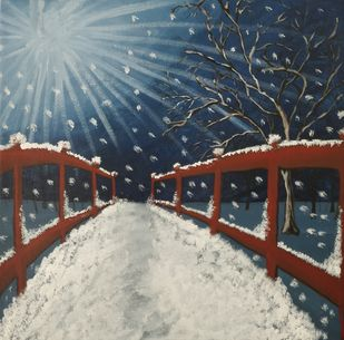 Moonlight Winter Evening by Gitika Singh, Expressionism Painting, Acrylic on Canvas, Blue color