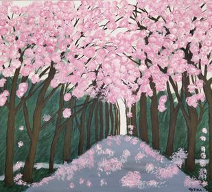Cherry Blossom Trees by Gitika Singh, Impressionism Painting, Acrylic on Canvas, Pink color
