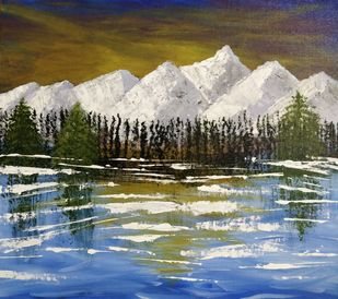 Snow Mountains by Gitika Singh, Impressionism Painting, Acrylic on Board, Brown color
