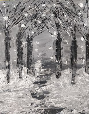 Snow Forest by Gitika Singh, Expressionism Painting, Acrylic on Canvas, Gray color