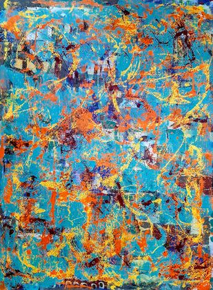 #33 by Pankaj Mishra, Abstract Painting, Acrylic on Canvas, Green color