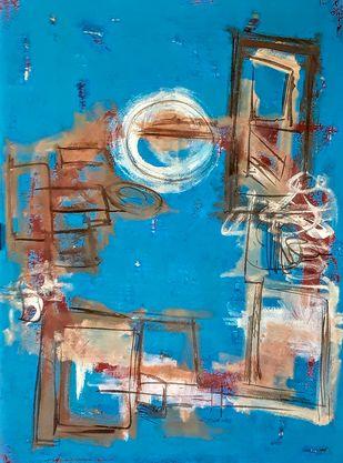 Lazy Sunday by Pankaj Mishra, Abstract Painting, Acrylic on Canvas, Blue color