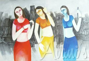 Gossip by Avani, Traditional Painting, Oil on Canvas, Gray color