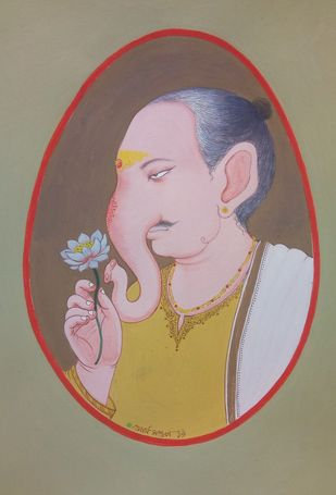 babu genesha by partha mondal, Traditional Painting, Tempera on Paper, Brown color