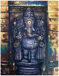 Ganapathy by C Mullai Rajan, Realism Painting, Acrylic on Canvas, Blue color