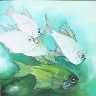 A cluster of aquatic by Vadivel Sambantham, Realism Painting, Oil on Canvas, Amazon color