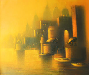 Evening in Banaras by Somnath Bothe, Expressionism Painting, Acrylic on Canvas, Brown color