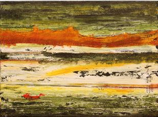 Landscape by Geetha Ramasesh, Abstract Painting, Oil on Canvas, Beige color