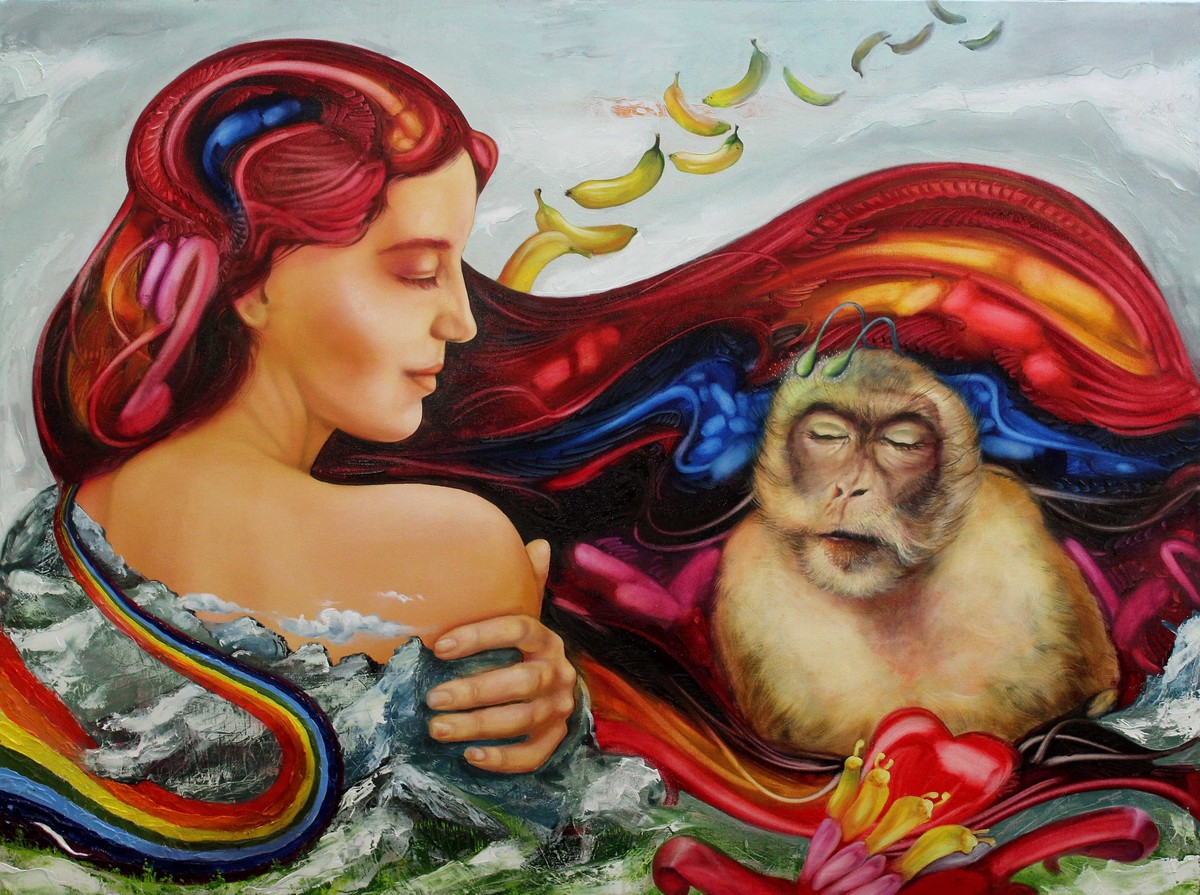 The Banana Dream by Ankur Rana, Fantasy Painting, Oil on Canvas, Brown color