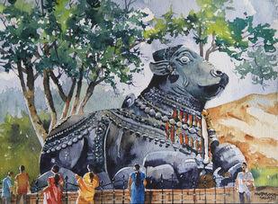 Explore India : Karnataka by Mopasang Valath, Impressionism Painting, Watercolor on Paper, Green color