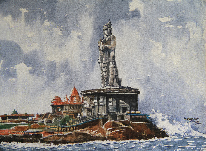 Explore India : Tamil Nadu by Mopasang Valath, Impressionism Painting, Watercolor on Paper, Gray color