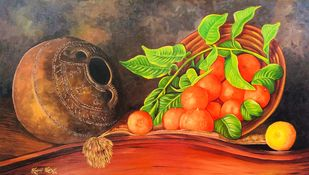 Nectar of Orange by Soma Sen, Realism Painting, Acrylic on Canvas, Brown color